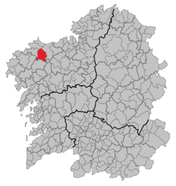 Location of Coristanco within Galicia