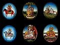 Six circular gouache paintings of Hindu gods, 19th century Wellcome V0047492.jpg