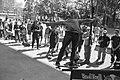 Skateboarder Yaje Popson lands a smooth and steezy backside 50-50 at LES skatepark.jpg