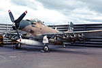 An A-1 Skyraider, similar in model to the aircraft used in the attack