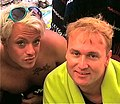Slawomir Rynkiewicz and Mattiaz Björling Skandalen, backstage tv show Waterwörld.jpg