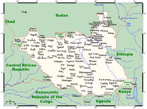 Geography of South Sudan - A map of South Sudan, showing towns, cities, and disputed areas on its borders.