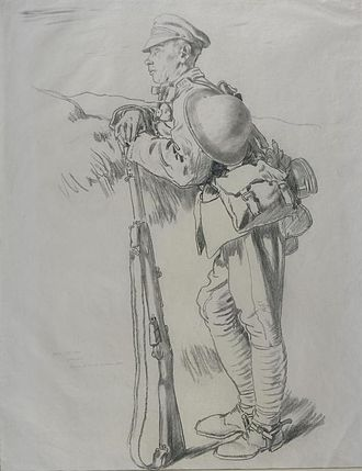 South Irish Horse - South Irish Horse, a Dubliner resting on his way to Arras Front, drawing by William Orpen, 1917