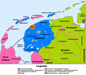 Dutch dialects - Map of the West Frisian-speaking areas in the Netherlands