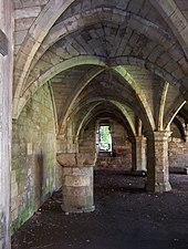 Vaulted arches seen from inside on the ground floor.