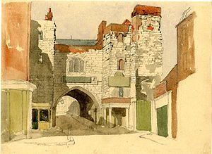 John Wykeham Archer - St John's Gate, Clerkenwell, a watercolour by John Wykeham Archer (British Museum).