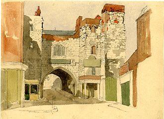 John Wykeham Archer - St John's Gate, Clerkenwell, a watercolour by John Wykeham Archer (British Museum).
