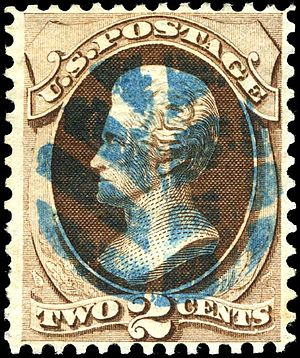 Fancy cancel - US 2-cent stamp of 1870, cancelled with a leaf shape in blue ink