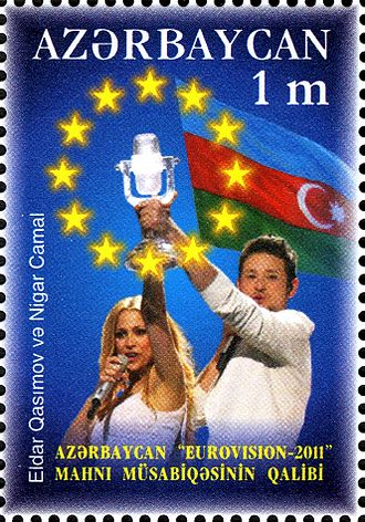 Ell & Nikki - Azerbaijani stamp dedicated to Eurovision victory 2011.