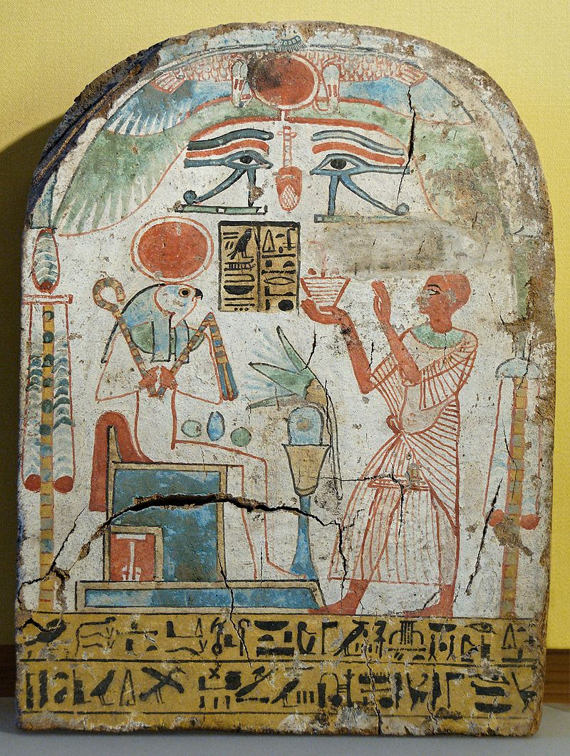 Egyptian, stele, Priest burning incense before Ra-Horakhty-A 800px-Stele_Ra-Horakhty_Louvre_N3795