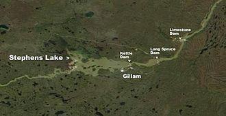 Gillam, Manitoba - Location of Gillam on Stephens Lake