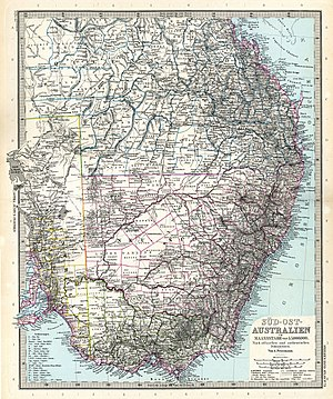 Lands administrative divisions of Australia - 1891 German map of South-eastern Australia showing many of the divisions.
