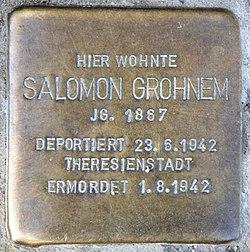 Photo of Salomon Grohnem brass plaque