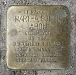Photo of Martha Sophie Aron brass plaque