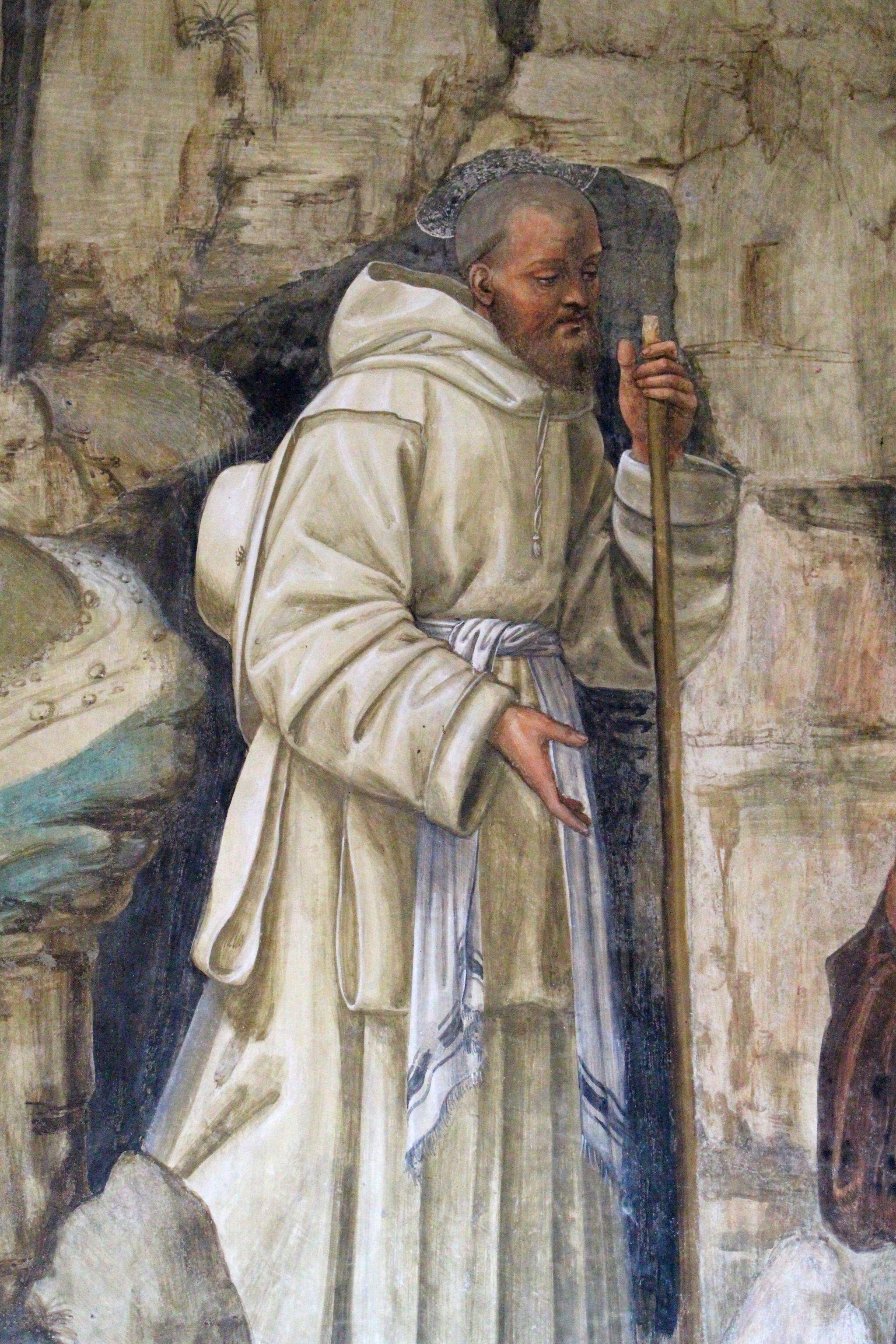 Storie di s. benedetto, 09 sodoma - Come Benedetto ai prieghi di alcuni eremiti consente di essere loro capo 03