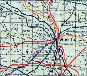 Sedgwick County, Kansas - 1915 Railroad Map of Sedgwick County