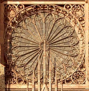 Tracery - The rose window of Strasbourg Cathedral, showing the open tracery screen.