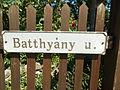 Street sign. - Batthyány street, Tihany.JPG