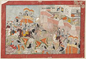 Alauddin Khalji's conquest of Ranthambore - Sultan Alau'd Din put to Flight; Women of Ranthambhor commit Jauhar, a Rajput painting from 1825