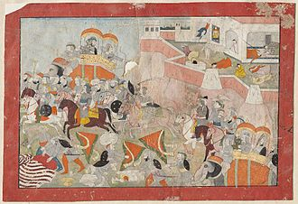 Jauhar - Sultan Alau'd Din put to Flight; Women of Ranthambhor commit Jauhar. Indian, Pahari style painting from c. 1825
