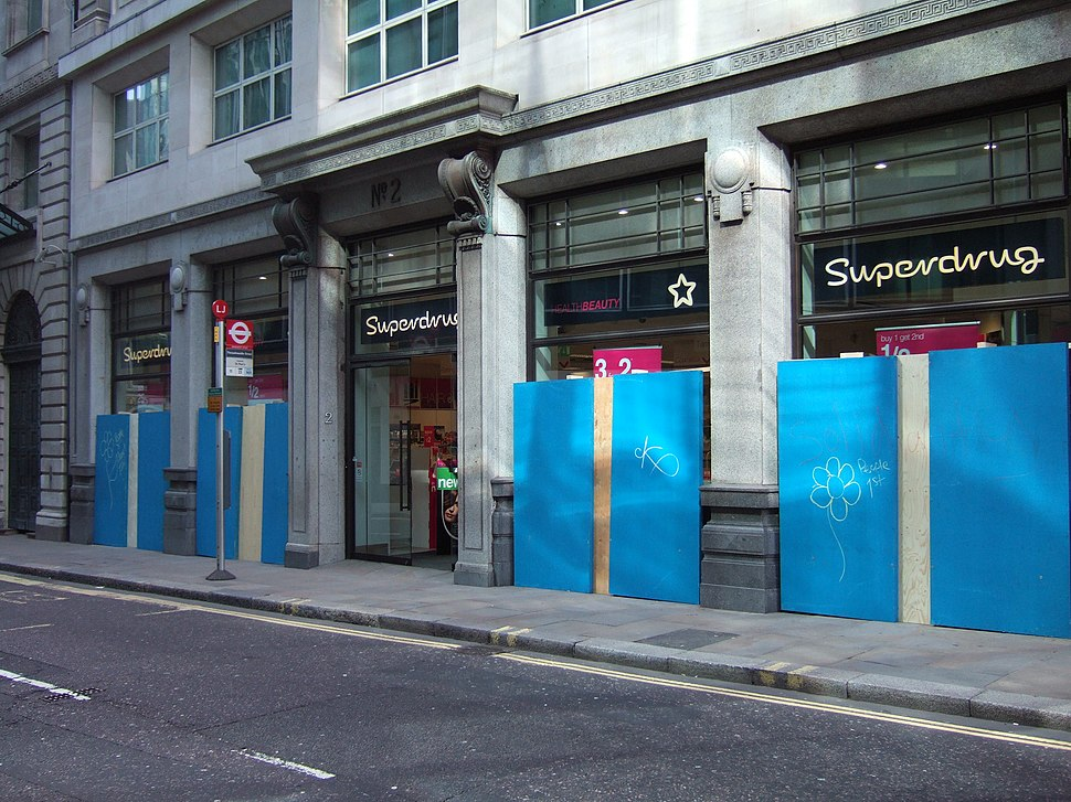 Superdrug with boarded windows during the 2009 G-20 London summit protests