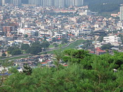 Suwon view on city wall and city.jpg