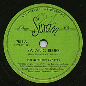 Swan Records (jazz label) - Label of 78rpm Swan Record by Phil Napoleon's jazz band, recorded on April 1946.