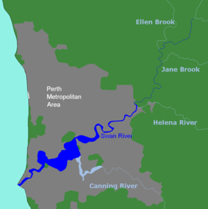 Noongar - Swan River, with Canning River in light blue