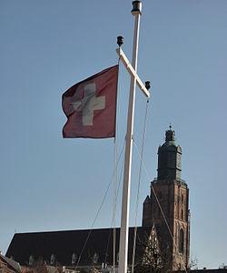 Swiss flag in Wroclaw.JPG