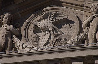DeKalb County Courthouse (Illinois) - The relief Seal of Illinois dominates the courthouse pediment.