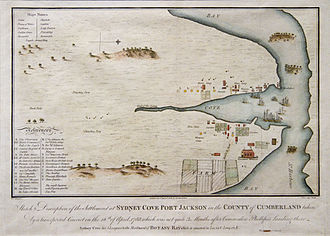 Port Jackson - Sydney Cove, Port Jackson in the County of Cumberland - from a drawing made by Francis Fowkes in 1788.