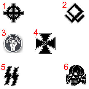 Strafgesetzbuch section 86a - Examples of banned symbols: 1) the white nationalist Celtic cross 2) the Odal rune 3) the Aryan fist 4) the Iron Cross with the Nazi Hakenkreuz 5) the SS Sig runes 6) the SS Totenkopf