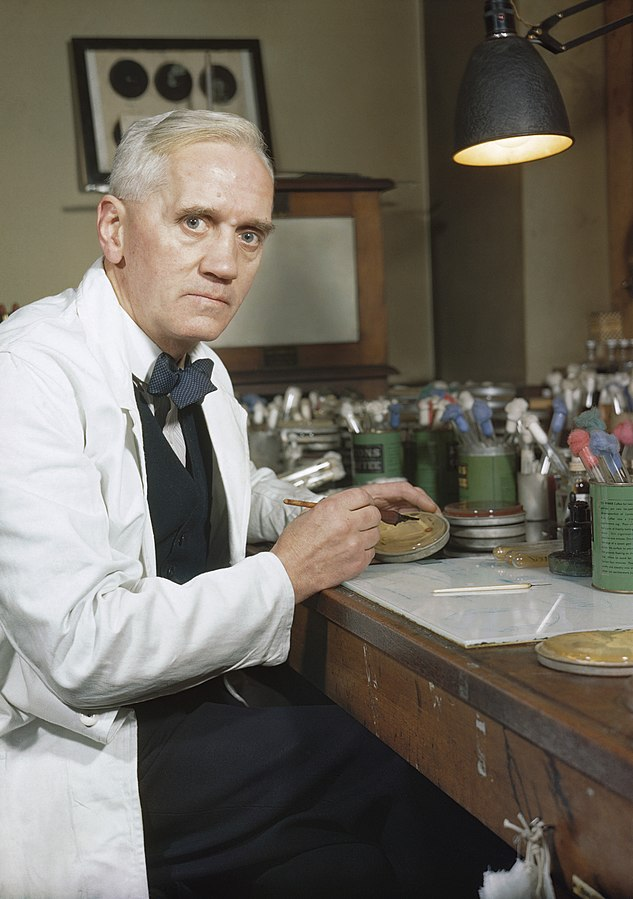 Sir Alexander Fleming in his lab, 1943