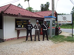Royal Thai Police - Thai Traffic Police officers, police booth , Huaikhot, Uthai Thani Province