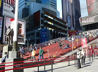 TKTS - Bleacher seats on south (rear) side of Duffy Square booth