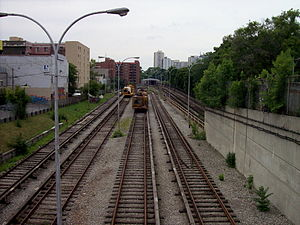 Dundas West station - Looking westwards over Vincent Yard towards the elevated Keele Station