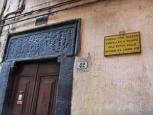 Ligurian Republic - Devastated blazon that proclaimed the foundation of the Ligurian Republic, 1797; Taggia, Italy