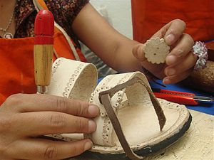 Huarache (shoe) - Making a huarache sandal at a workshop at the Museo de Arte Popular, Mexico City.