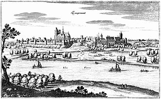 Tangermünde - Tangermünd, 17th century engraving by Matthäus Merian