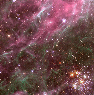 H II region - A small portion of the Tarantula Nebula, a giant H II region in the Large Magellanic Cloud