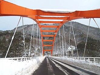 Japan National Route 283 - Route 283 crosses Lake Tase via the Tase Ohashi Bridge in Hanamaki City