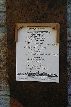 Tassajara Zen Mountain Center - Image: Tassajara Hot Springs (Menu)