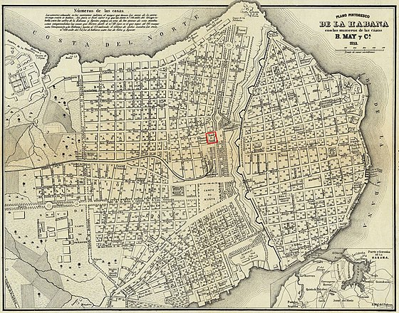 Teatro Tacon in 1853 Map of Havana. Teatro Tacon in 1853 Map of Havana, Cuba.jpg