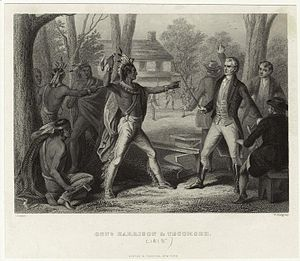 Tecumseh - At Vincennes in 1810, Tecumseh accosts William Henry Harrison when he refuses to rescind the Treaty of Fort Wayne.