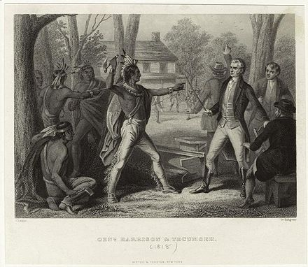 At Vincennes in 1810, Tecumseh loses his temper when William Henry Harrison refuses to rescind the Treaty of Fort Wayne. Tecumseh ante Harrison.jpeg