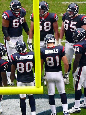 2007 Houston Texans season - Texans players huddle on offense against Tampa Bay in 2007 week 14