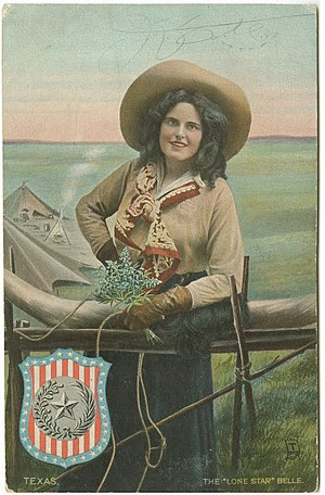 "Culture of Texas - The ""Lone Star"" Belle, postcard, around 1908."