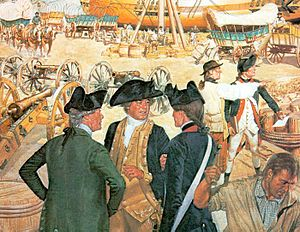 Quartermaster Corps (United States Army) - Assistant Quartermaster General John Parke give instructions to a captain of artillery whose company has just arrived from Boston. New London, 1776.