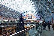 The upper level of The Arcade, looking south under Barlow's roof, just after opening to the public and just prior to Christmas 2007 (hence the tree).