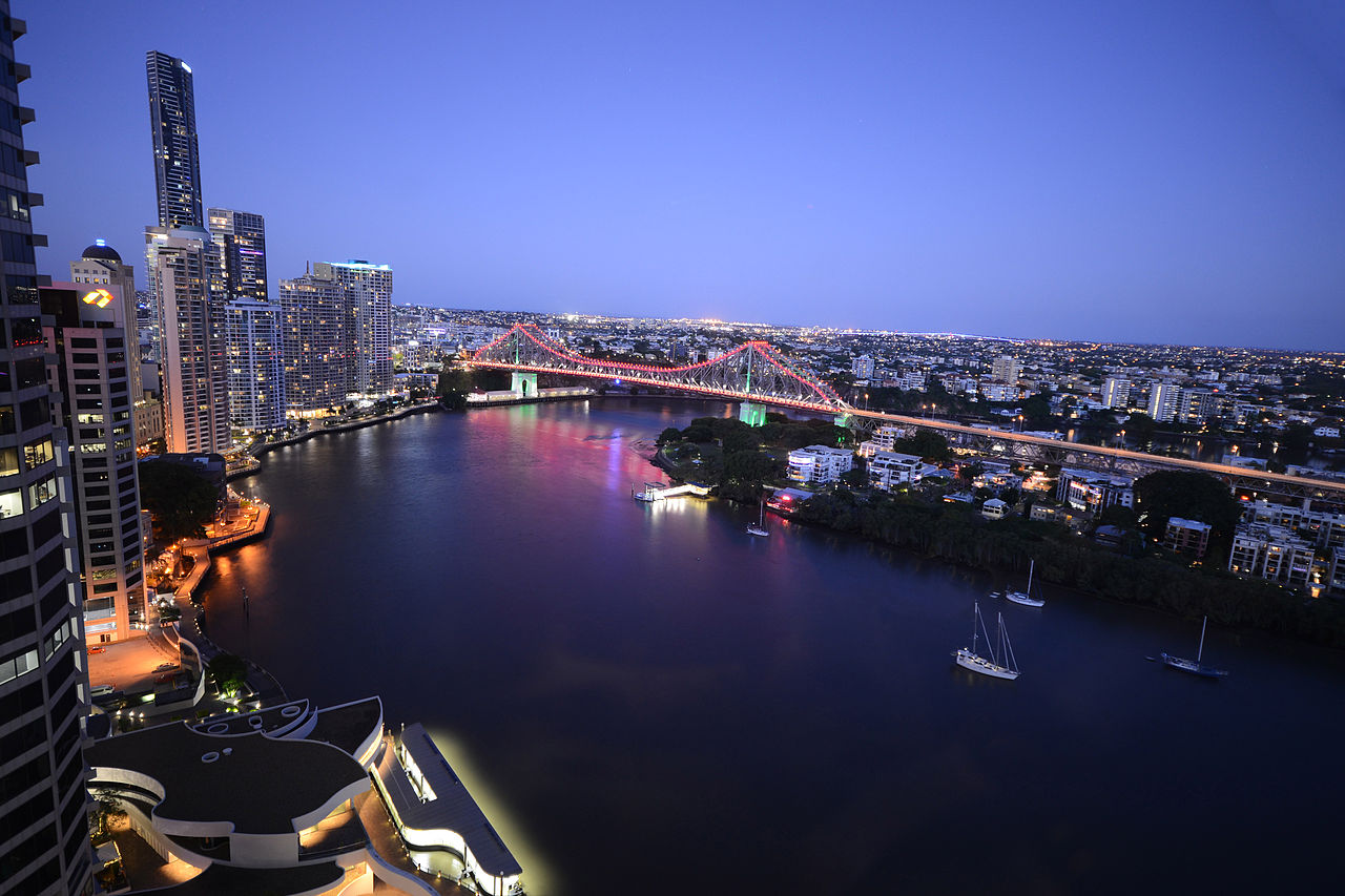 view of brisbane river and cityscape at sunset
